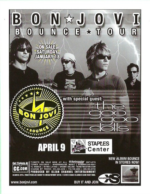 "So I never have quite got over that I missed the ""Bounce Tour"" in 2003 when ""The Goo Goo Dolls"" opened for ""Bon Jovi""….     These photos were from the show in Atlanta. Origin: Concertshots.com  If anyone has any other photos of Jon and Johnny together could you please post them or hook me up?  They're like ""My own personal Reese's Peanut Butter Cup…"""