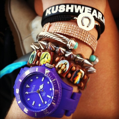 My wrist! #bracelets #wrist #purp #watch #lucky #horseshoe #spikes #swaggin #girl  (Taken with instagram)
