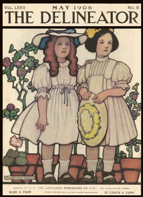 Little girls' fashion from the cover of The Delineator magazine, May 1906.