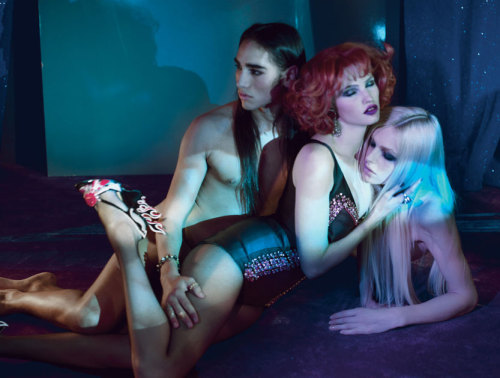 Lara Stone, Andrej Pejic and Willy Cartier by Paolo Roversi in 'Divine Decadence' for W Magazine December 2011.