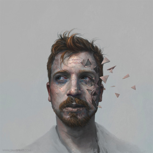 "New Year - Self Portrait by Sam Spratt So many of us scoff at the notion that a new year can really mean anything more than a marker for the passage of time. The rational side of me is on board with that but just a hair of whimsy keeps me a fan of such markers because—like many—I love the idea of a personal ""reset button"".  A mostly arbitrary day where we try to give our various missteps a clean slate, a fresh start, and a new skin is significant not because it actually will magically make the next year a better year—but because it makes us stop to reflect on what COULD improve. Maybe you could try to do a bit better in school, maybe you could be a bit more open-minded, do a little less cocaine, play a little less Skyrim and a little more with your girlfriend (or is it the other way around), maybe give a little more charity, nag your friends a little less… maybe you could even stop painting saliva and fire on everything (ok that one might just apply to me)—the point is… you've gotta glance back now and then to know where you want to be next—why not use the arbitrary day of making ""resolutions"" to do so? It's not some grand or dramatic thing that will change the course of your personal history… just an acknowledgment to yourself that there is always room for change. This will be my last illustration of 2011 so thank you everyone so much for making my first as a professional so damn awesome. I wish you the best, and I'll be back in a few short days to start another year of illustrated weirdness! Follow my: portfolio website,  tumblr,  facebook artist's page and twitter."
