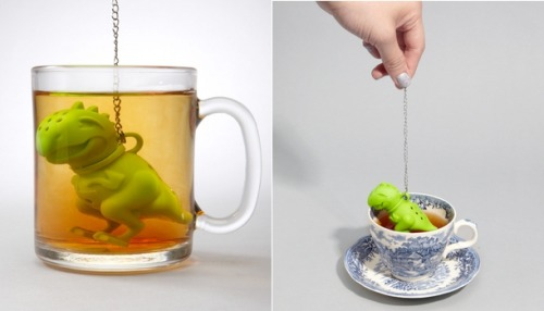 "thedailywhat:  Tea Accessory of the Day: ""Tea Rex"" as its name suggests is a T. rex-shaped tea infuser that's perfect for tea lovers and dinosaur aficionados alike. So, basically everybody. Preordering is available now through fred flare. Ships February 27. [theawesomer.]"