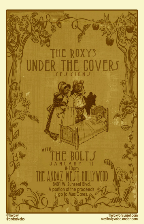 The Roxy presents Under the Covers: a night of themed music + story telling with new bands each week. Join us for our first session at the Andaz West Hollywood on January 11, 2012 at 7pm with The Bolts - free!  Check back here after to get your free download of the Pillow Talk podcast as Nic Adler talks music with the band in the former-Riot House rooms that housed all the rock & roll greats.
