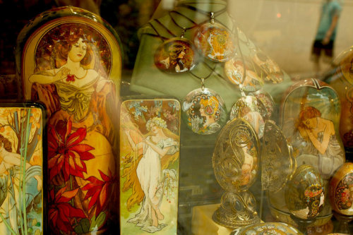rredfern:  Alphonse Mucha goodies snapped through a shop window in Prague.