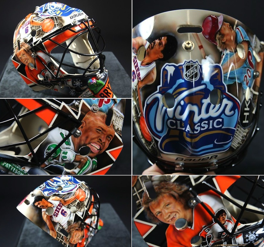 Ilya Bryzgalov will wear a mask for the Winter Classic that is a tribute to Philadelphia sports. Players featured on the mask include are Reggie White (Eagles) Julius Erving (Sixers), Mike Schmidt (Phillies), and Bobby Clarke (Flyers) along with the Philly Phanatic. The HK patch is for the late, great Harry Kallus.