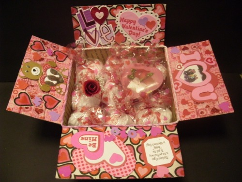 "Time to start putting together those valentines day care packages!  Candy Snacks  Cookies teddy bear homemade valentine ""hot pants"" valentines day boxers Photobook of the two of you Steamy love letter"