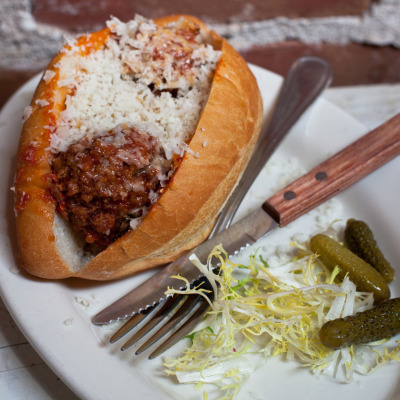 Meatball sandwich with Grana Padano and calabrian peppers at Boot and Shoe Cafe in Oakland, CA.