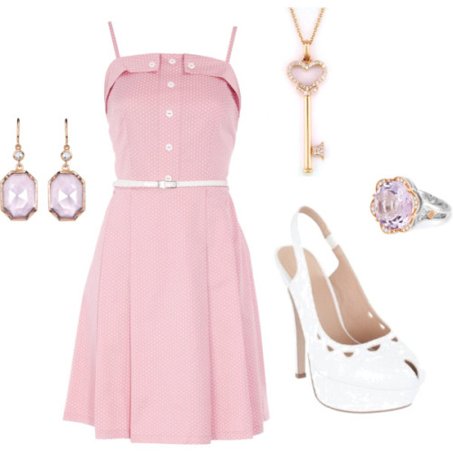 effingfashion:   Pink :) by kickandbanme featuring 18 karat gold jewelry Dorothy Perkins dot dress, $21Winter white shoesIrene Neuwirth 18k jewelry, $3,060Effy Collection heart shaped jewelry, $52518 karat gold jewelry