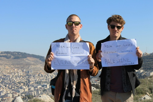 This is a photo of Men Speak Out founders Gus and Nick in Palestine.