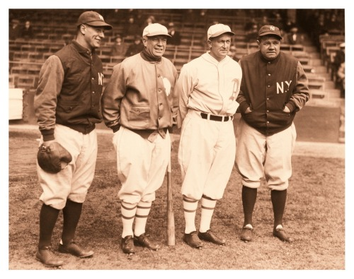 Lou, Tris, Ty & Babe - 1928 Of course, that's (L-R) Lou Gehrig, Tris Speaker, Ty Cobb and Babe Ruth.  Make sure you click on the image to see it in all of its full-sized glory!