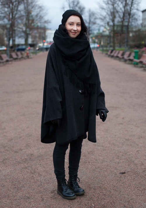Goth cape with Dr. Martens in Helsinki.