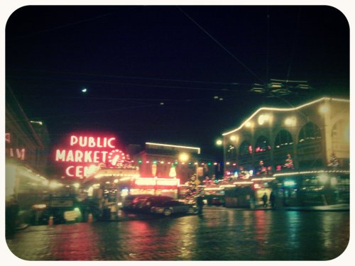 Pike Place Market at Christmastime (Taken with picplz in Seattle, WA.)