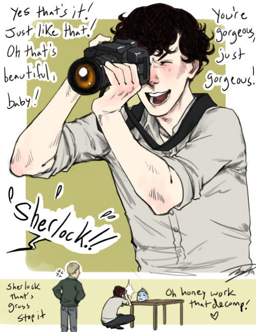 reapersun:  awww i bet you thought he was taking embarrassing photos of jawn don't worry he did that too  diglettdevious: Has  Sherlock ever had any fun with that camera equipment set he brought to  on of the Great Game's puzzles? gay-what-nothing-hey: Could  you please draw Sherlock and his camera from the TGG?