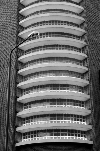 scavengedluxury:  Detail of the Streamline Moderne rear extension of the former Co-op department store, Nottingham. This place had an amazing Art Deco cafe hidden away on one of the upper floors. It's partially a casino now, and I think some of the building is used to train police dogs. 28/12/2011.