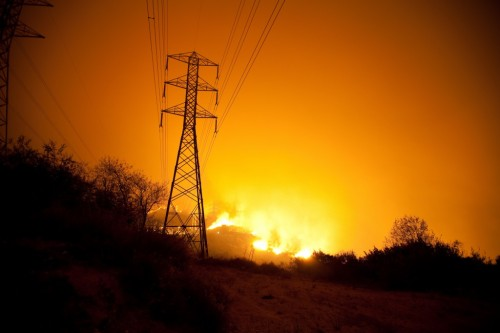 """Station Fire and High-Tension Powerlines,"" by Dave Bullock"