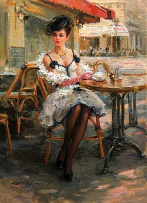 worldpaintings:  Konstantin Razumov (b. 1974) Konstantin Razumov is a Russian impressionist painter. His subjects vary from nudes to  landscapes, but he's probably at his graceful  best when painting charming young ladies. The smoothness of skin tones and the exspressive features of his characters distinguish his work. Razumov's paintings are in private collections and galleries in Moscow, Paris, London and New York.