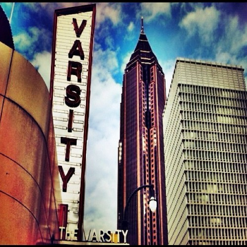 We like the juxtaposition. emotionalorphan:  Varsity 4 _ <>#atlanta #emotionalorphan #places_of_interest #iphoneography #hdr #nofilter  (Taken with instagram)