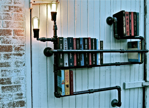 nameloss:  verahs:  Cool bookshelves from Stella Blue Designs. Designed by Katie Katzenmeyer.