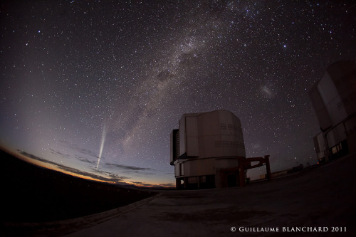(via APOD: 2011 December 28 - Comet Lovejoy over Paranal) This is the dome of one of the VLT units in Paranal, Chile, with Comet Lovejoy and the Milky Way providing an amazing background. If you look on the other side of the telescope, you can see the two most visible satellite galaxies to the Milky Way, the Large and Small Magellanic Clouds. Image Credit & Copyright: Guillaume Blanchard