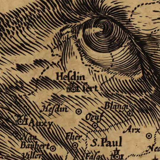 Jodocus Hondius, 1611 - Map of Belgium as a Lion, detail.