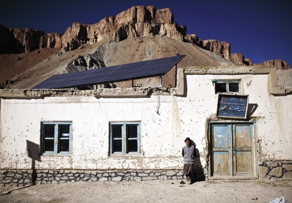 """Transforming Sustainable Energy In Afghanistan""  This schoolhouse in Band-e Amir, in central Afghanistan, has light, thanks to solar panels installed by Sustainable Energy Services Afghanistan.(April 2011) via fastcompany Photo By: Benjamin Lowy"