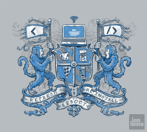 "Coders rejoice! Ian Leino's new shirt design gives all of us geeks our very own ""Code of Arms"". On sale now over at Shirt.Woot. Contest Time!: Follow Ian and reblog this post to be entered to win a FREE SHIRT! He will be  giving one away each week that it's up for sale, so spread the word and  help it stay on the reckoning chart! Related Rampages: Shoot First. Vote Smuggler! (More) Code of Arms by Ian Leino (Tumblr) (Facebook) (Twitter) Via: ianleino"