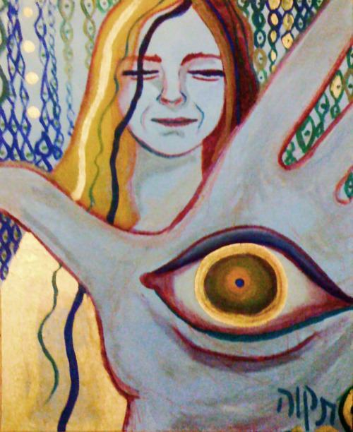 """Mother Chamsa"" - Mysical Jewish artwork by Tikva Adler http://www.etsy.com/listing/89363507/mother-chamsa-mystical-jewish-painting"