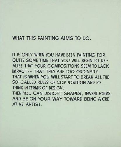 whitehotel:  John Baldessari, What this painting aims to do (1967)