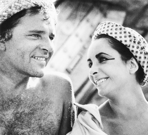 Richard Burton and Elizabeth Taylor on a break from filming Cleopatra (1963)