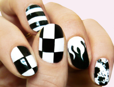 B&W GRAPHIC. CHECK STRIPE FLAME SPLATTER NAILS BY NAILING HOLLYWOOD'S VERY OWN MADELINE POOLE.  madelinepoolenails:  checkerstripeflamesplatter