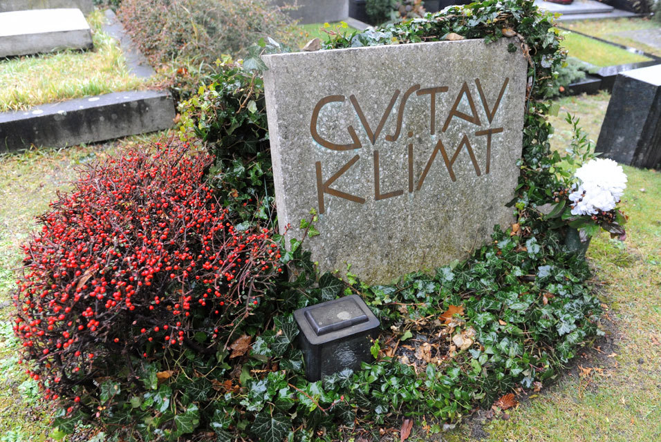Grave of artist Gustav Klimt (1862-1918) at the Hietzinger cemetery in Vienna, Austria.