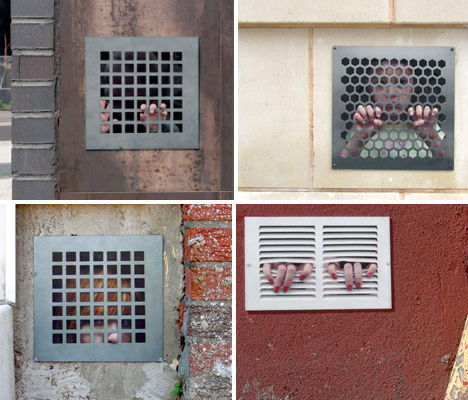 arsetculture:  Captured Live: 'Trapped People' Street Art Project http://bit.ly/v9FRdL