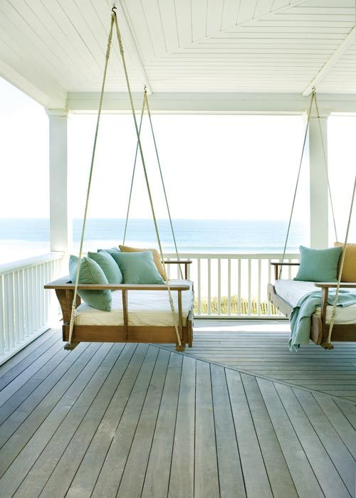 Double Porch Swings, Beach Cottage, South Carolina photo via bjole