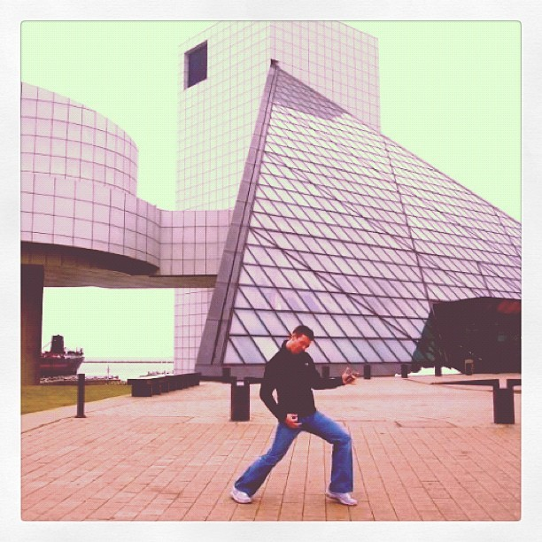 my mister jamming in front of the rock & roll hall of fame