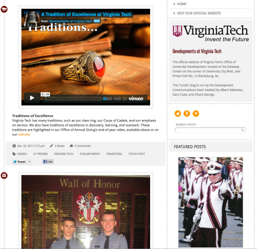 Our very own Gary Cope helps run this Virginia Tech blog that doubles as the Office of University Development's office website.   We think it's a great example of our Single A theme in action. We especially like their use of Single A's sticky post and featured tag.   How are you using Single A?