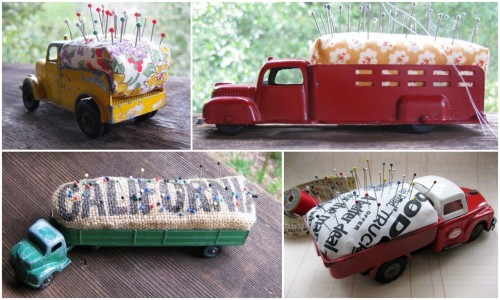 DIY Pincushions Using Toy Trucks. Tutorial at Just Something I Made here. *Some photos pictured from another post on the same blog here.