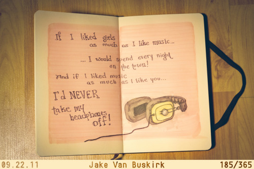 fuckyeahmoleskines:  My name is Jake Van Buskirk. I've decided to make an arty thing every single day! The lazier I am that day, the lousier the art, but there must always ALWAYS be something produced. Get it? Amazing, turn off the lights when you're done. Check it all out here!