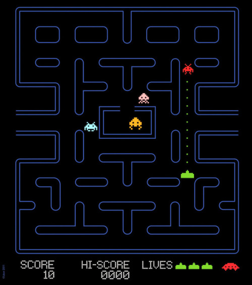 justinrampage:  Pac-Man would have been a lot easier if I could have played the Spaced Invaders remix that artist Grégoire Guillemin designed. Prints, iPhone / laptop cases and skins now on sale at his Society6 store. Related Rampages: Famous Capsules 2 (More) Pac Invaders by Grégoire Guillemin (Society6) (Behance) (Twitter)
