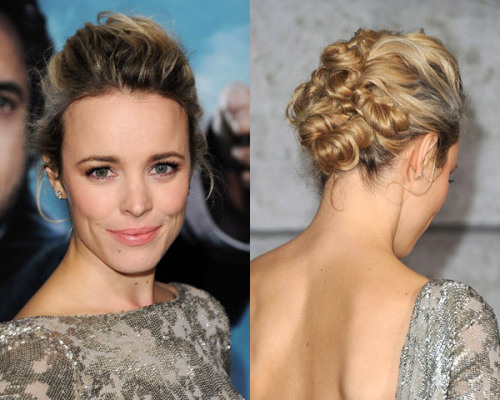We love these tiny twisted buns in Rachel McAdams' hair!