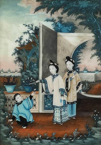 Unknown (Chinese) Ladies and a Servant in a Partially Walled Garden 19th century