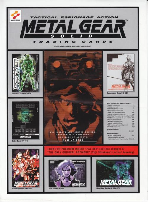 Metal Gear Solid trading card info.