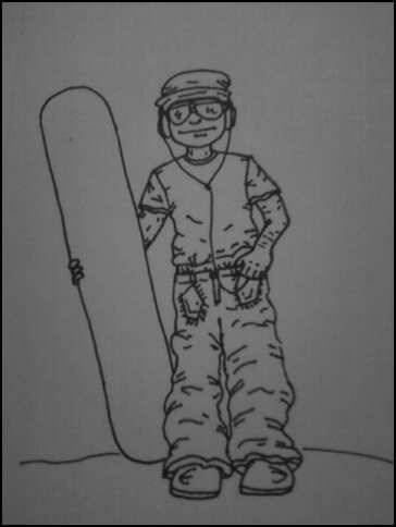 quick sketch i did of a snowboarder, what should i draw on the snowboard?