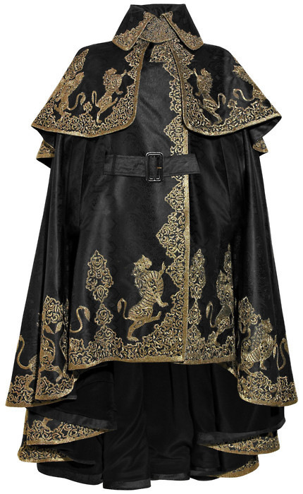 avantgardehautecouture:  Alexander McQueen black embroidered silk jacquard cape.