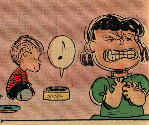 I love this panel from Peanuts: the Art of Charles M. Schulz (ed. Chip Kidd). And the reason for Lucy's reaction? Linus is listening to Christmas carols in February. Gotta love Linus.