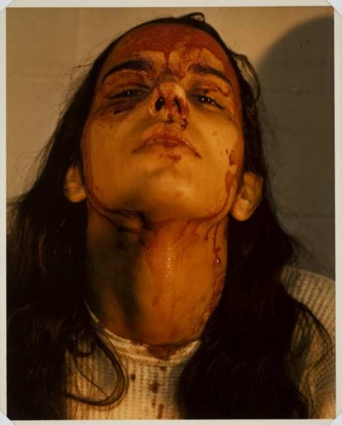 Ana Mendieta, Self Portrait with blood