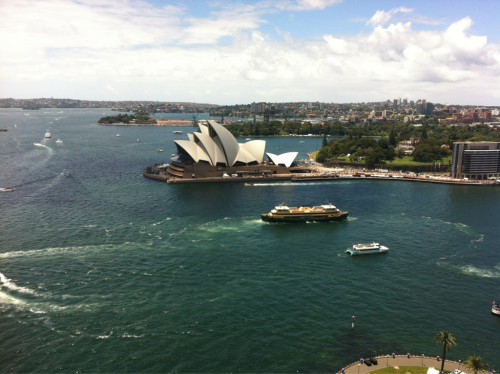 View of the Sydney Opera House from the top of the bridge pylon. #Australia