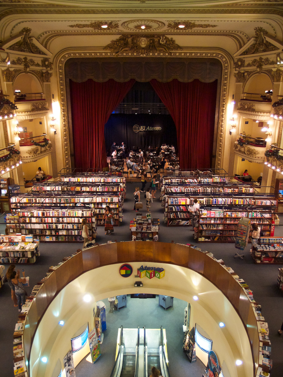 El Ateneo Grand Splendid, the second most beautiful bookstore in the world according to The Guardian, in Buenos Aires, Argentina. December 19th, 2011.