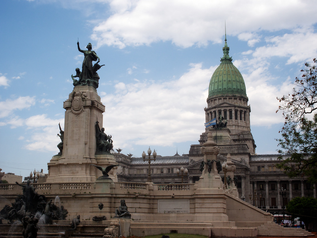 The Monument to the Two Congresses, and the Argentine National Congress, Buenos Aires. December 21st, 2011.