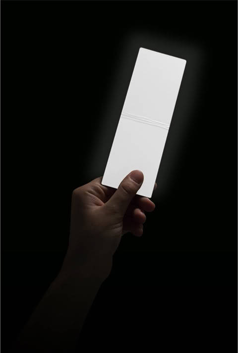 Lightleaf: A leaf of light, thin as a page of a book, to enlighten rooms and tents, maps and books. Wireless, rechargeable, autonomous. With adjustable brightness, private or shared light, for those who read and travel everywhere.