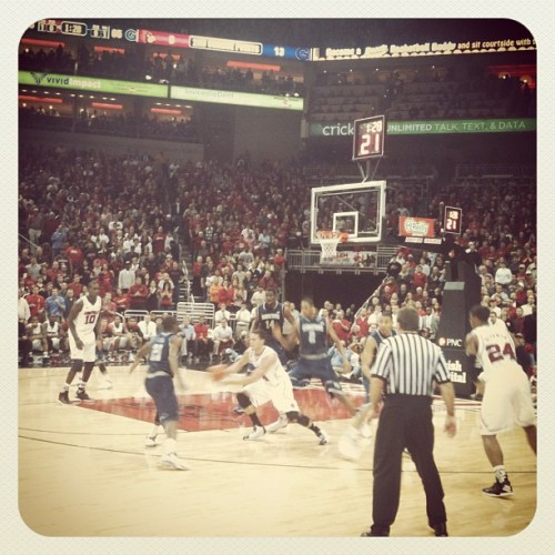 Front row seats at The u of l v georgetown game  (Taken with instagram)